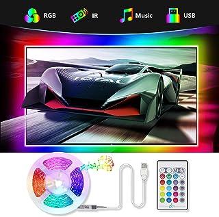 Tiras LED TV 2.2M, TASMOR Tira LED USB RGB 5050 Sincronización de Música Multicolor, Luces LED Habitación con Control Remoto, Luz LED TV Gaming con Autoadhesiva 3M para 30-60 Inchi TV/PC
