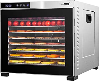 VIVOHOME Stainless Steel Electric 1000W 10 Trays Commercial Food Dehydrator Machine with Digital Timer and Temperature Con...