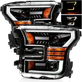 AlphaRex Polished Black 15-17 For Ford F150 Halogen Type Switchback DRL/Signal LED Tube Dual Projector Headlights