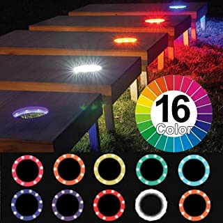 Alritz Cornhole Lights, 16 Color Changing Corn Hole LED Night Lights Standard Cornhole Board Ring Lights with Remote Control for Family Backyard Bean Bags Toss Game, Set of 2