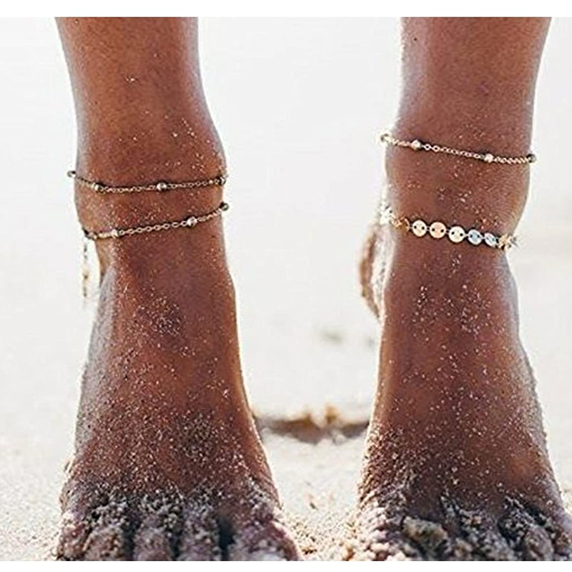 Simsly Anklet Bracelet with Sequins Foot Jewelry Set Beach Ankle Chain for Women and Girls JL-134 (Gold)