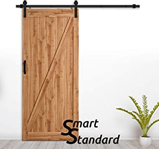 SMARTSTANDARD 36in x 84in Sliding Barn Door with 6.6ft BarnDoor Hardware Kit & Handle, Pre-Drilled Ready to Assemble Wood Slab Covered with Water-Proof PVC Surface (Natural Z-Frame Panel),