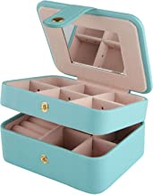 Equuleus Small Travel Jewelry Box Organizer (Fountain Blue) Portable Jewelry, Earring Holder and Ring Storage Case for Travel with Premium Velvet Lining