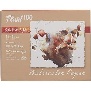 Fluid 100 Watercolor Paper 821722 300LB 100% Cotton Cold Press 11 x 14 Pochette, 8 Sheets