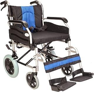 Lightweight Aluminium Folding Transport Wheelchair with 20-inch Extra Wide seat ECTR02-20