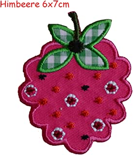 2 Iron on Patches Raspberry 6x7 and Monster Touched 5.5x7 - Embroidered Fabric Appliques Set by TrickyBoo Design Zurich