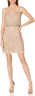 Women's Sleeveless V-Neck Blouson Beaded Cocktail Dress