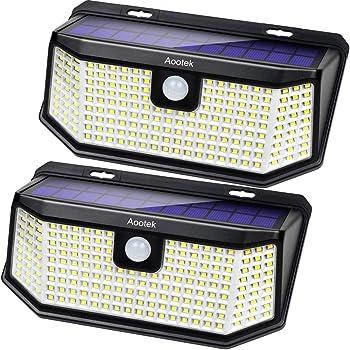 Aootek 238 LED ソーラーライト 屋外 人感センサーライト 15.2平方インチの改良版ソーラーパネル 3つの点灯モード(防犯/一晩中点灯/スマート輝度調整) IP65防水規格 広角(2パック)
