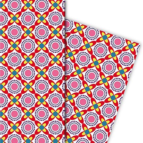 Kartenkaufrausch Cool Retro cadeaupapierset, decoratiepapier, patroonpapier om in te pakken met bloemen en zon in vintage design, rood • geschenkverpakking, designpapier, 4 vellen, 32 x 48 cm