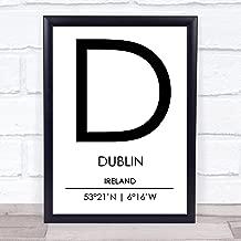 Dublin Ireland Coordinates World City Travel Quote Wall Art Print