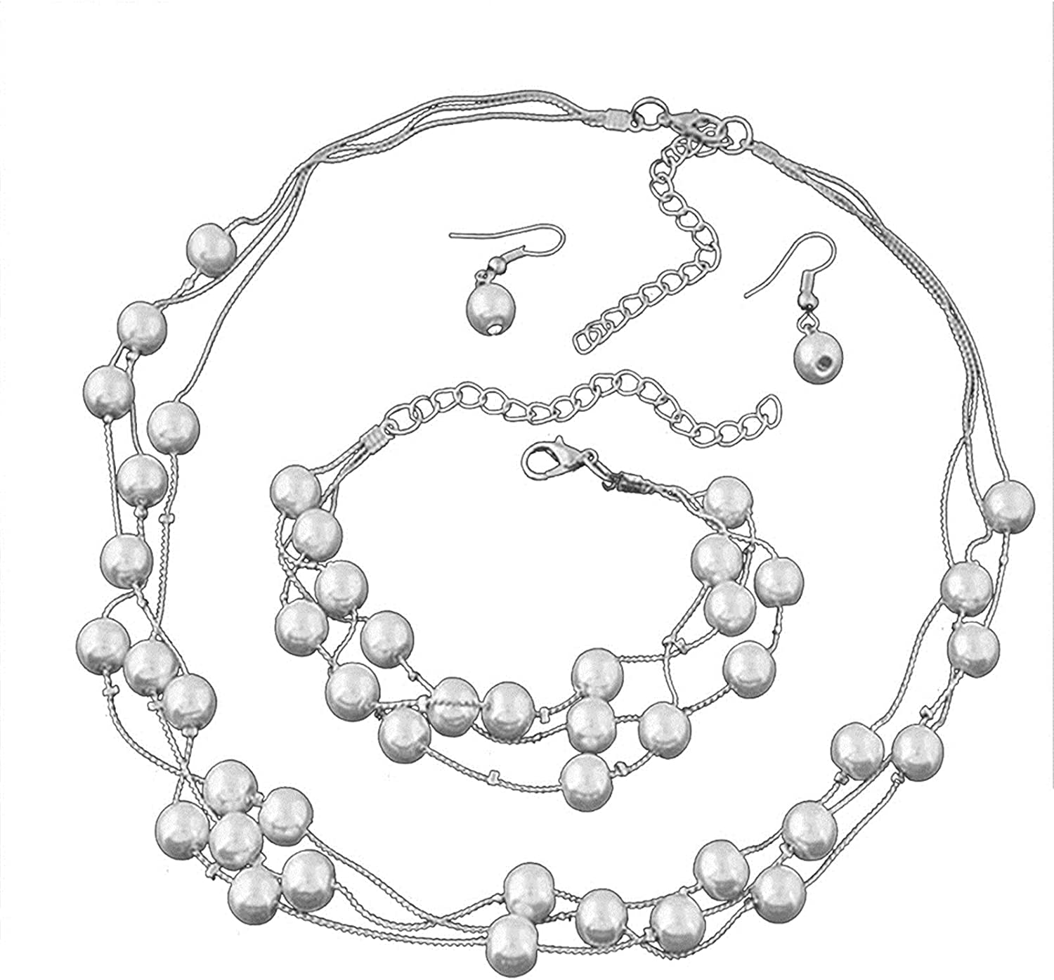 Layered Simulated Pearl Beads Choker Collar Necklace Bracelet Boho Statement Seeds Drop Dangle Earring for Women Girl Teen Multilayered Party Holiday Wedding Jewelry Set