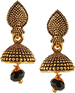 Efulgenz Indian Vintage Retro Ethnic Gypsy Oxidized Gold Tone Boho Jhumka Jhumki Dangle Earrings for Girls and Women Love Gift
