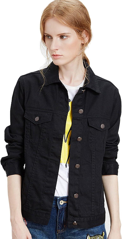 ZLSLZ Womens Basic Long Sleeve Solid Trucker Denim Jean Jackets Coats Outerwear