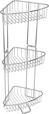 ToiletTree Products Rust Proof Stainless Steel Shower Floor Caddy, 3 Tiers (Assembly Required - Screwdriver Included) (Collapsible)