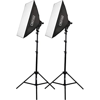 """Fovitec - 2-Light 2000W Fluorescent Lighting Kit for Photo & Video with 20""""x28"""" Softboxes & Stands"""