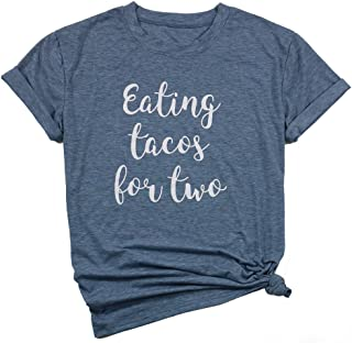 649edcc1 DUTUT Eating Tacos for Two Maternity T-Shirt Women's Funny Letter Print  Short Sleeve Pregnancy