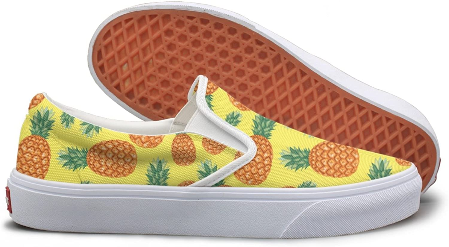 Lalige Ananas Pineapple Tropical Fruit Pattern Womens Classic Canvas Slip-ons Travel shoes
