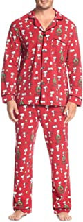 BedHead Mens Pajama Set Large Notch Snoopy Christmas Holiday Red L
