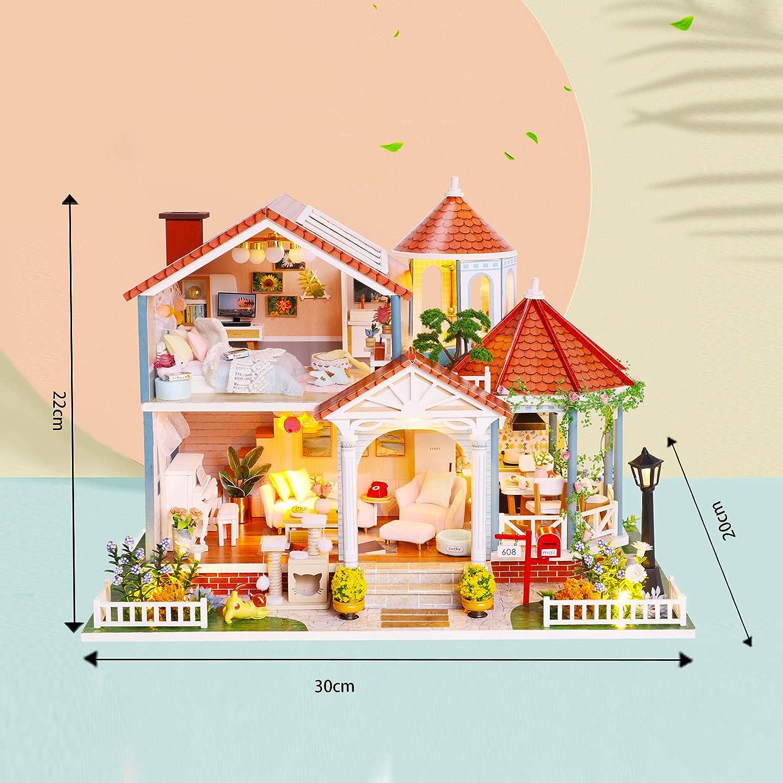 Tiempo de Glaseado Coloreado Regalo Original para Ni/ñas Madres Esposas Novias Miniaturas para Manualidades Casas Miniaturas para Montar Casas de Munecas Madera en Miniaturas con M/úsica y Muebles