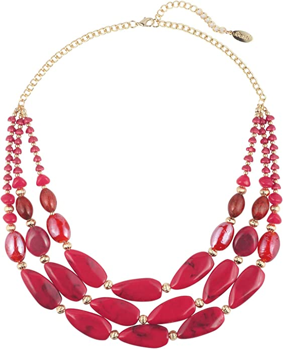 Bocar 3 Layer Beads Statement 24.5 Necklace for Women