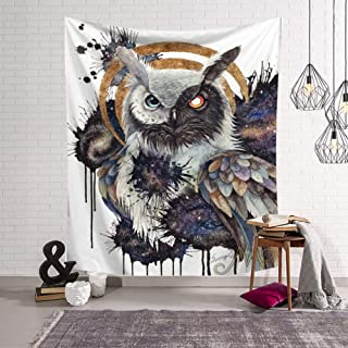 Tapestry Wall Hanging,Vintage Animal Patterns, Floral Owl,Indian Boho Hippie Gothic Psychedelic Trippy Ethnic 3D Digital Print Fabric Modern Art Wall Decoration for Living Room Bedroom,150X200 cm