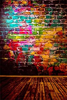 AOFOTO 4x6ft Graffiti Brick Wall Photography Background Grunge Colored Texture Backdrop Party Decoration Punk Music Rock Vocal Concert Trendy Hip Hop Stylish Art Portrait Photo Studio Props Wallpaper
