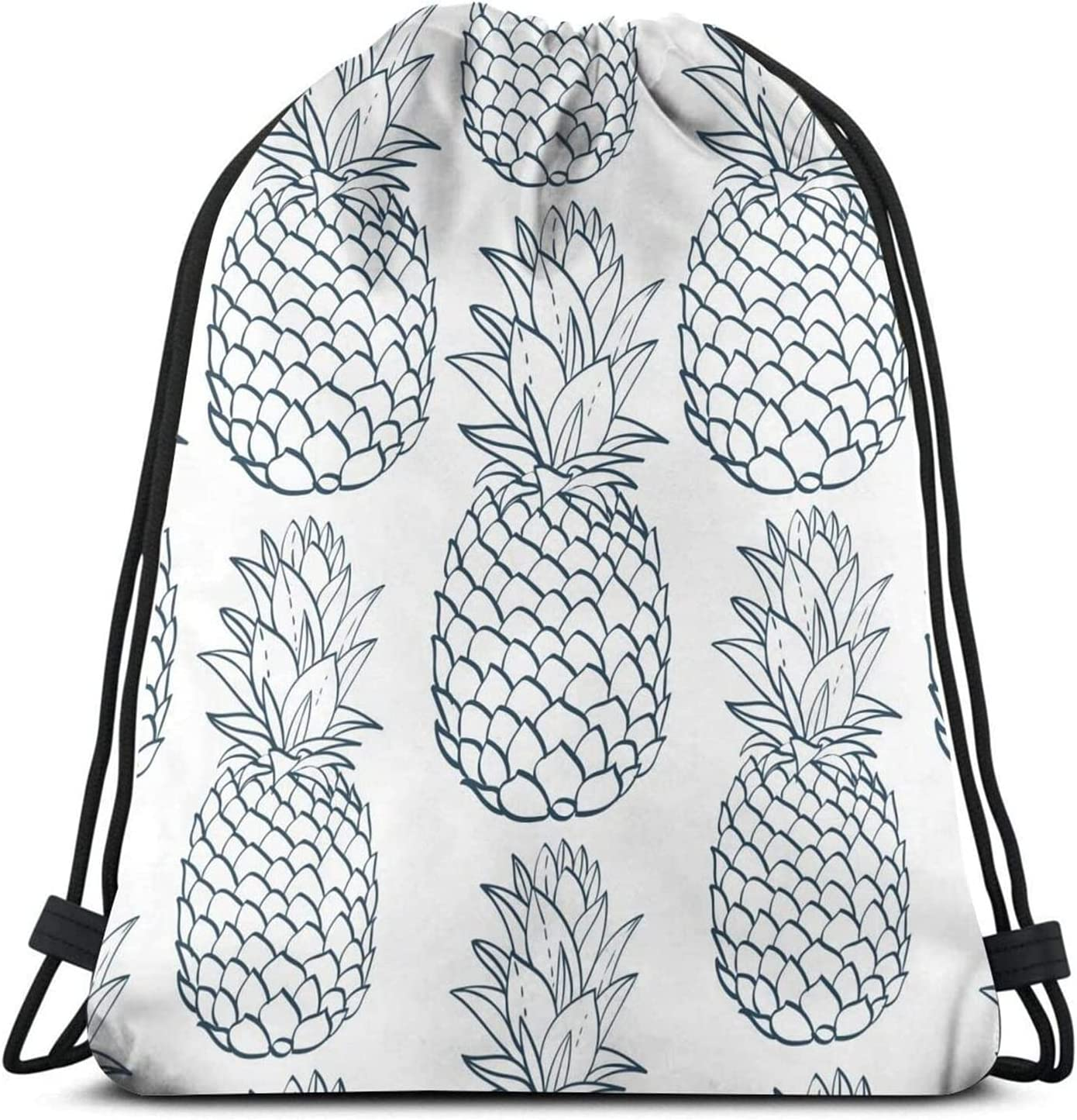 Pineapple Blue Pattern Drawstring Bags Gym Max 55% OFF Backpack Sack Sport Great interest S