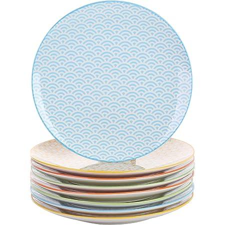 vancasso, série Natsuki, Assiettes Plate, 8 pièces, en Porcelaine, Style Japonais