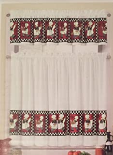 Interiors by design Chef Kitchen Window Tier and Valance Set Red, Black, White