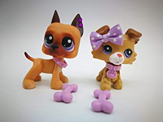 Toy Rare LPS Great Dane 244 LPS Collie 2452 Brown Dog Purple Eyes with Accessories Lot Collection Toy Figure Girls Boys Gift