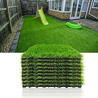 Progoal Artificial Grass Turf Tile Fake Grass Flooring Mat Interlocking Self-draining 12``x12``, 1.7`` Height (1.38in Grass)