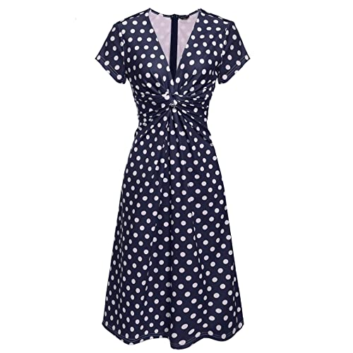 24aa58a9f09b ZEELA Women's V Neck Short Sleeve 1940s/40s Polka Dot Pin-up Ruched Full