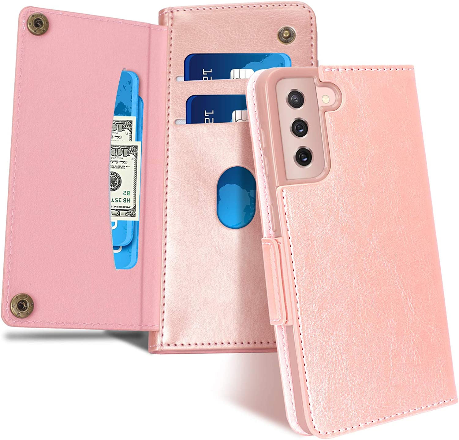 """FYY Case for Samsung Galaxy S21 5G 6.2"""", [Magnetic Closure] Luxury Leather Wallet Case Flip Folio Cover with [Front Card Slots] for Galaxy S21 5G Rose Gold"""