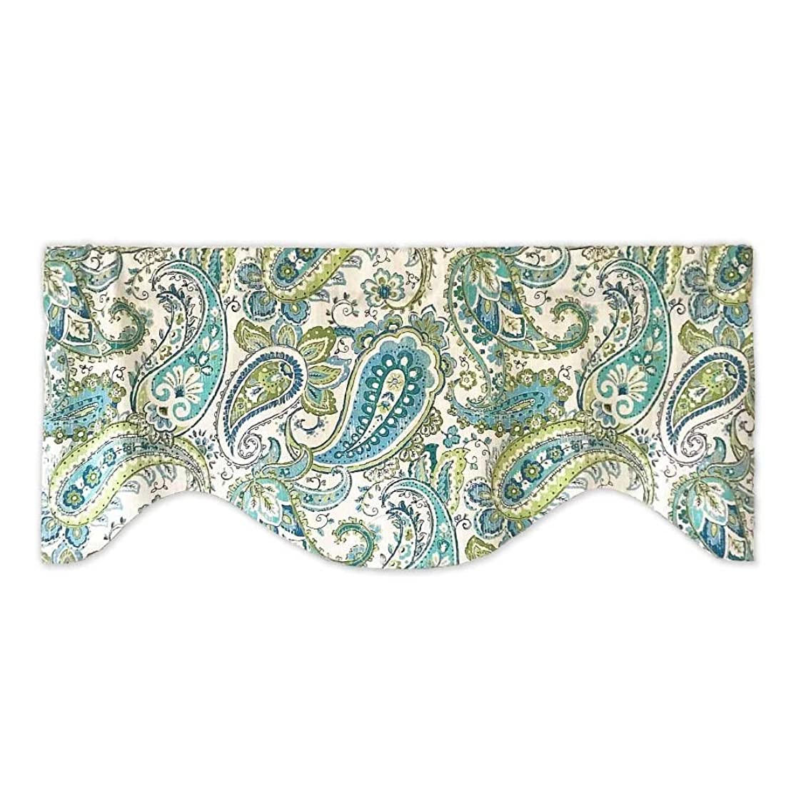 Teal and Sage Green Floral Paisley Valance jpqqpdmv8