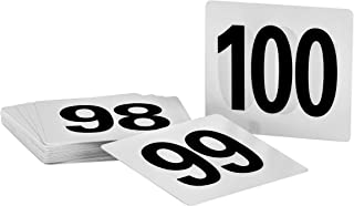 Alpine Industries Double-Sided Plastic Table Numbers - 4x4 Inch Heavy Duty Number Cards - Perfect for Restaurants, Establishments & Special Events or Functions (Numbers 50 to 100)