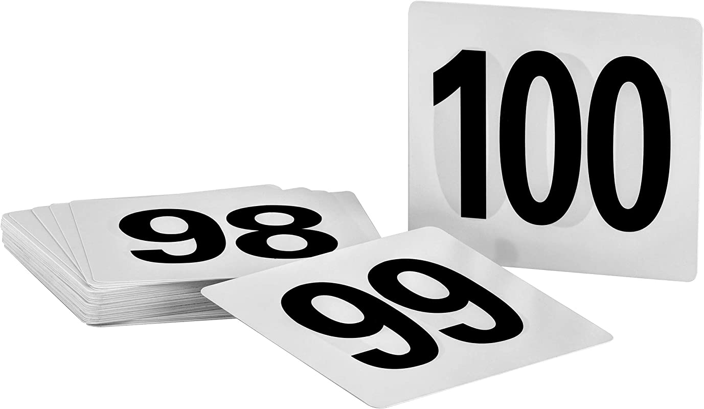 Alpine Industries Double Sided Plastic Table Numbers 4x4 Inch Heavy Duty Number Cards Perfect For Restaurants Establishments Special Events Or Functions Numbers 50 To 100