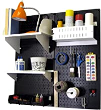product image for Wall Control 30-CC-200 BW Hobby Craft Pegboard Organizer Storage Kit with Black Pegboard and White Accessories