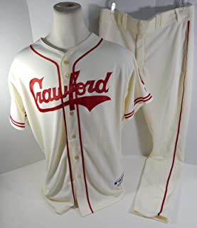 2018 Pittsburgh Crawfords Dovydas Neverauskas #66 Game Issued Cream Jersey Pants - Game Used MLB Jerseys