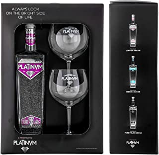 Pack London Dry Gin Platinvm con Plata y dos copas 70cl.