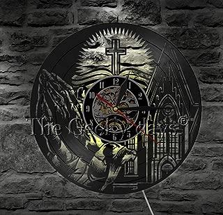 TPYFEI Biblia Biblia Colgante Reloj silencioso Iglesia Pastor Jesús Cruz Christopher Porter Disco de Vinilo Reloj de Pared Regalo Cristiano Decoración para el hogar