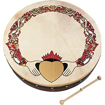 "Waltons Bodhrán 8"" (Claddagh) - Handcrafted Irish Instrument - Crisp & Musical Tone - Hardwood Beater Included w/ Purchase"
