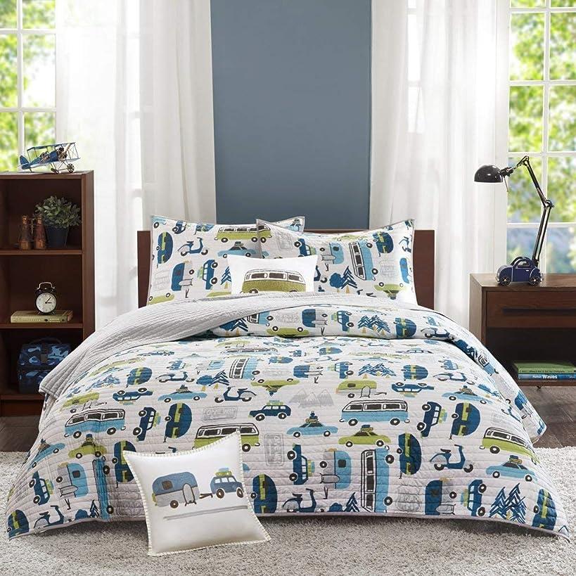 INK+IVY Kids Road Trip Full/Queen Bedding Sets Boys Quilt Set - White Blue, Car – 4 Piece Kids Quilt for Boys – 100% Cotton Quilt Sets Coverlet