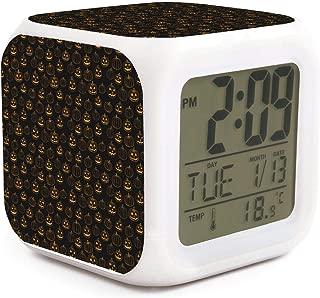 Black Halloween Print Alarm Clock Displays Time Date and Temperature Soft Nightlight for Kids Home Office Bedroom Heavy Sleepers