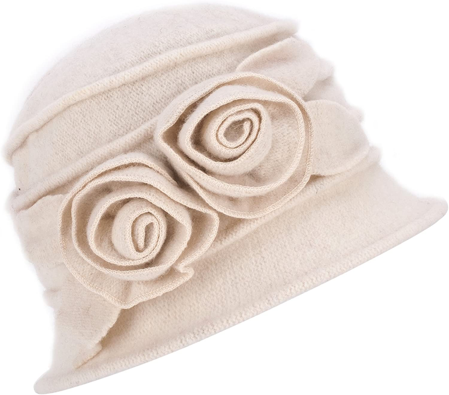 1920s Style Hats 1920s Gatsby Womens Flower Wool Warm Beanie Bow Hat Cap Crushable A287  AT vintagedancer.com