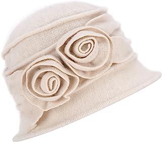 Lawliet 1920s Gatsby Womens Flower Wool Warm Beanie Bow Hat Cap Crushable A287