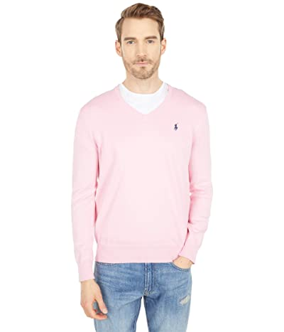 Polo Ralph Lauren Cotton V-Neck Sweater (Miami Pink) Men
