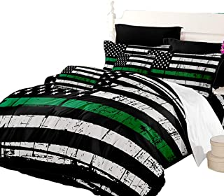 Oliven American Flag Duvet Cover Queen Size Valor Patriot Theme Digital Quilt Cover Black White Green Bedding 3 Piece
