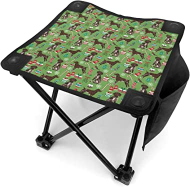 CHILL·TEK Camping Stool, German Shorthaired Pointer Dogs Christmas Outdoor Folding Chair Slacker Chair for Camping Backpackin