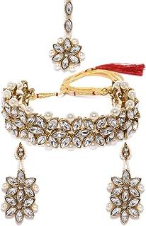 Zaveri Pearls Jewellery Set for Women (Golden) (ZPFK8716)