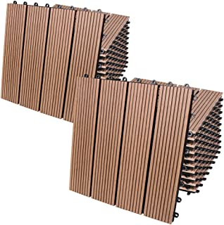 Deuba Set de 22 baldosas losas de WPC Terracota para jardín terraza Exterior Resistente al Agua Sistema de Encaje 30x30cm